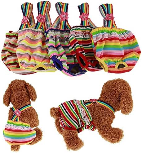 OCSOSO Pack of 2 Pet Dog Cat Physiological Shorts Doggy Kitten Underwear Pants Diapers Strip Design Tighten Strap Sanitary Briefs Panties for Puppy Kitty Color at Random (L)