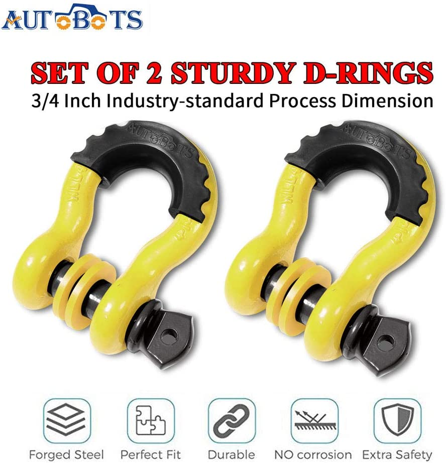 2 Pack AUTOBOTS Bow Shackle 3//4 D-Ring Blue Shackle 41,887Ib Break Strength with 7//8 Pin 2 Black Isolator and 4 Washers Kit for Off-Road Jeep Vehicle Recovery