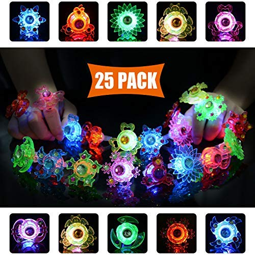 Mikulala Birthday Party Favors for Kids Prizes 25 Pack Flashing LED Light Up Rings Toys Bulk Boys Girls Gift Blinky Glow in The Dark Party Supplies 5 Color 10 Shape Goodie Bag Fillers by Mikulala