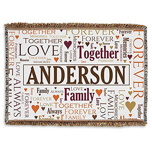 (GiftsForYouNow Personalized Family Word-Art Afghan - Spice Themed, 54