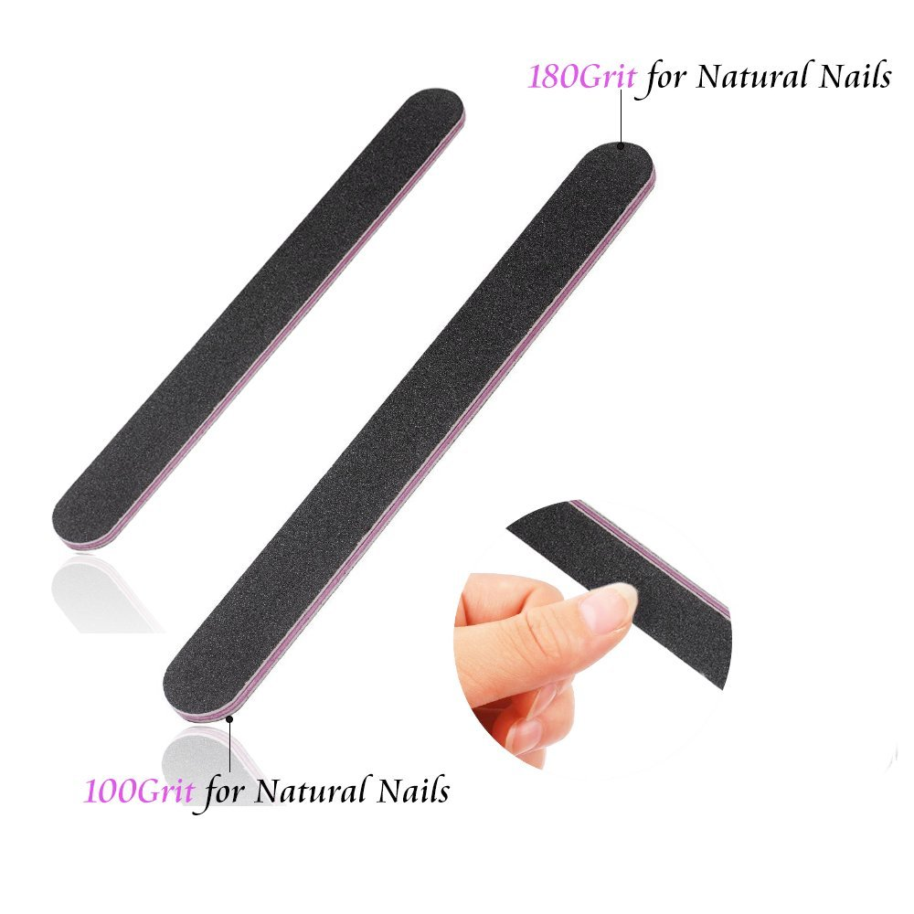Justime Professional Nail Files Washable Double Sided Emery Board Nail Tools 100/180 Grit Black(Pack of 16)