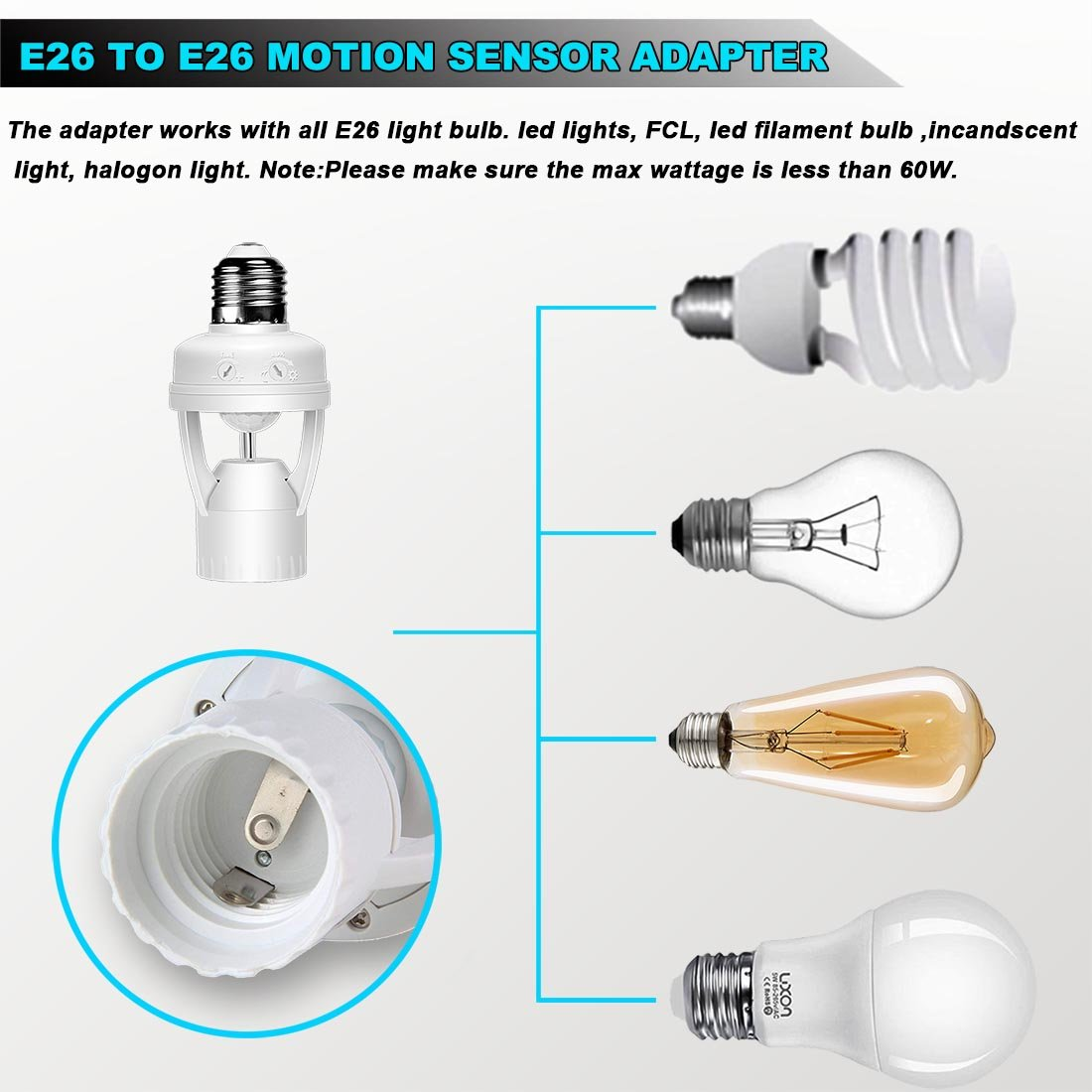 Motion Sensor Light Lamp Socket Adapter Infrared E26 Bulb To Ac Wall Outlet Plug On Off Switch 12 Dimmable Suitable For E27 Base Garage Porch Stairs By Luxon
