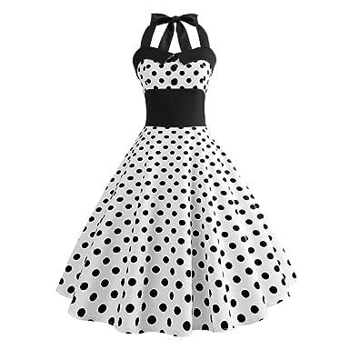 447895277464 Reaso Vintage Robe de Soirée Cocktail Party Classique Style Halter 50 s Audrey  Hepburn Années à Pois