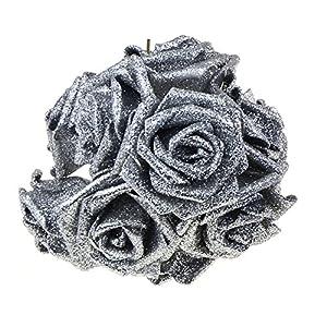 SUIE 10Pcs Artificial Fake Foam Rose Flowers Bridal Wedding Bouquet Decoration Bunch Decor (Silver) 35
