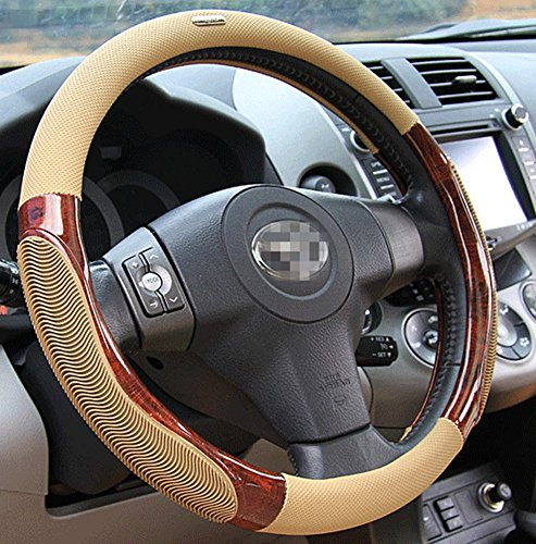- Moyishi Top Leather Steering Wheel Cover Universal Fit Soft Breathable Steering Wheel Wrap (Yellow Wood)