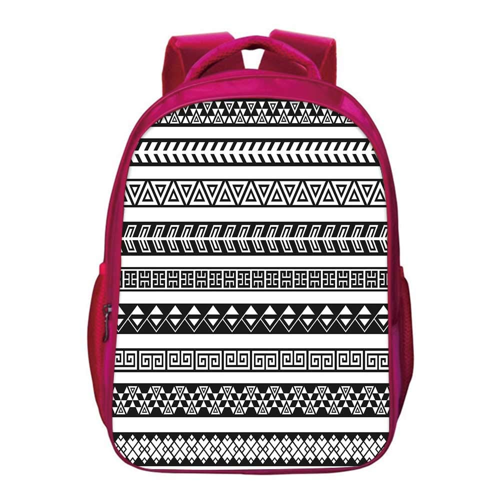 Boho Printing Backpack,Tribal Ethnic Borders Native American Aztec Ancient Geometric Folkloric Figures Decorative for Kids Girls,11.8''Lx6.3''Wx15.7''H by YOLIYANA