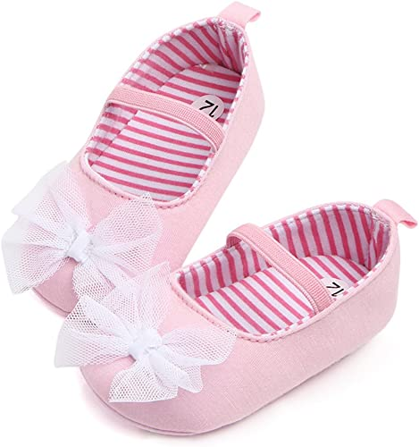 Baby Girl Pink Soft Sole with Butterfly Anti-Slip White Bowknot Shoes Prewalker Sneakers 3-12 Months