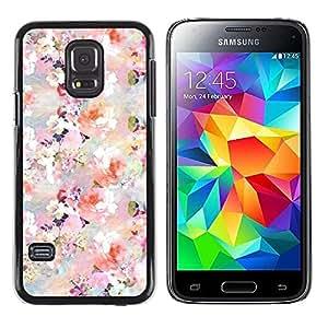 FECELL CITY // Duro Aluminio Pegatina PC Caso decorativo Funda Carcasa de Protección para Samsung Galaxy S5 Mini, SM-G800, NOT S5 REGULAR! // Flowers Blossoms White Pink Wallpaper