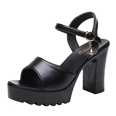 eb8af47a9c Ladies Sandals Jamicy High Heels Sandals Women Summer Fish Mouth Platform  Wedge Buckle Slope Shoes (