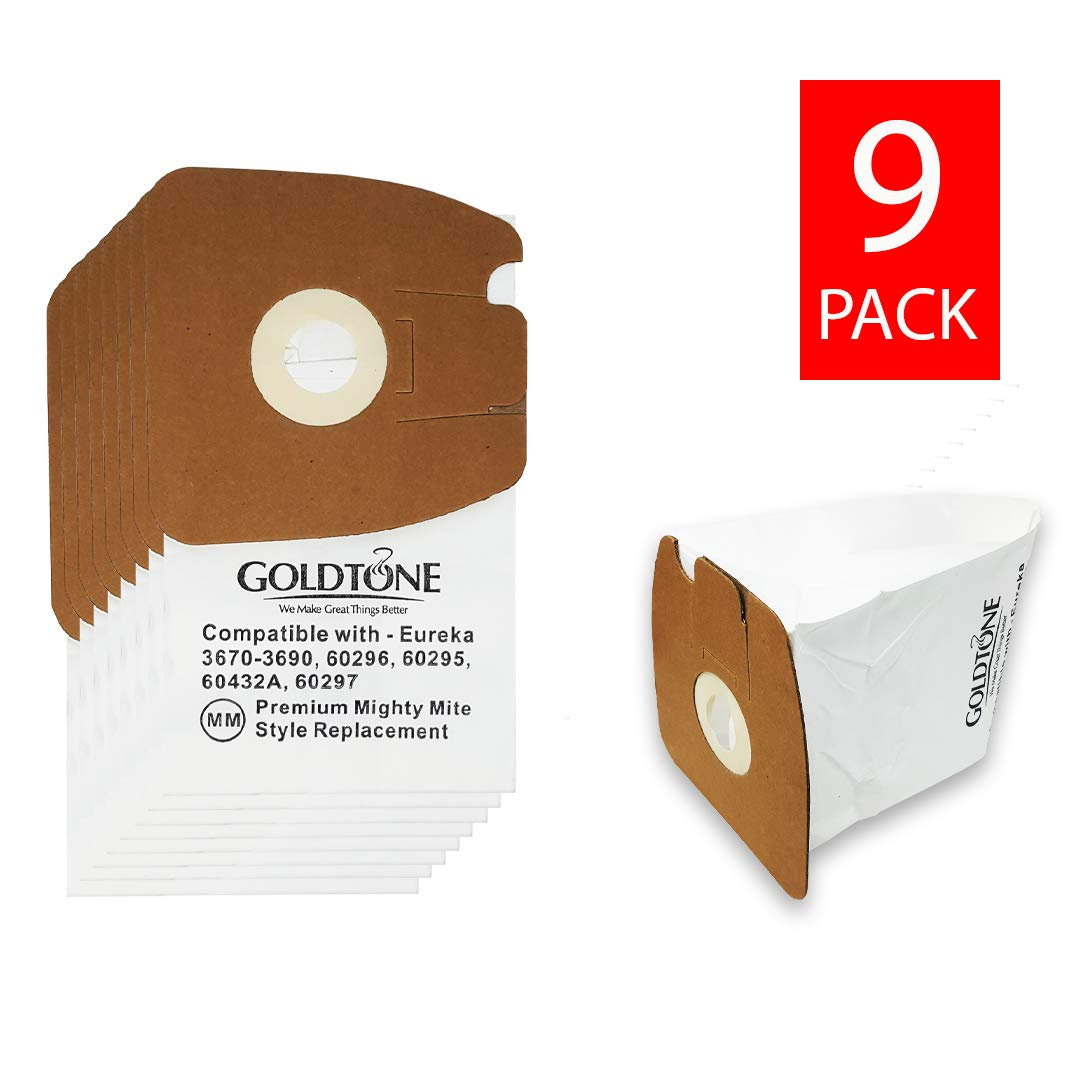 GoldTone Premium MM Style Replacement Vacuum Bags for Eureka Mighty Mite Canister Vacuum Models (9 Pack)
