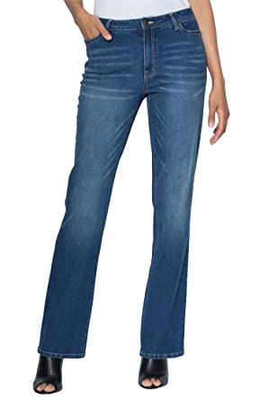 Women's Plus Size Tall Bootcut Jeans With Invisible Stretch ...