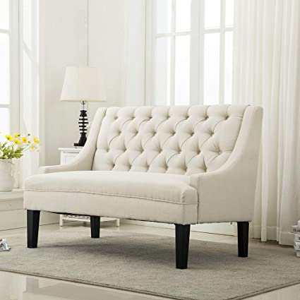 Attrayant Modern Settee Bench Banquette Loveseat Sofa Button Tufted Fabric Sofa Couch  Chair 2 Seater