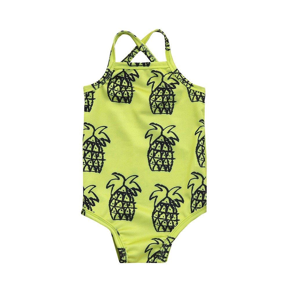 Fartido Baby Girl Pineapple Print Swimsuit Breathable One-Piece Romper Bikini WQAQ16