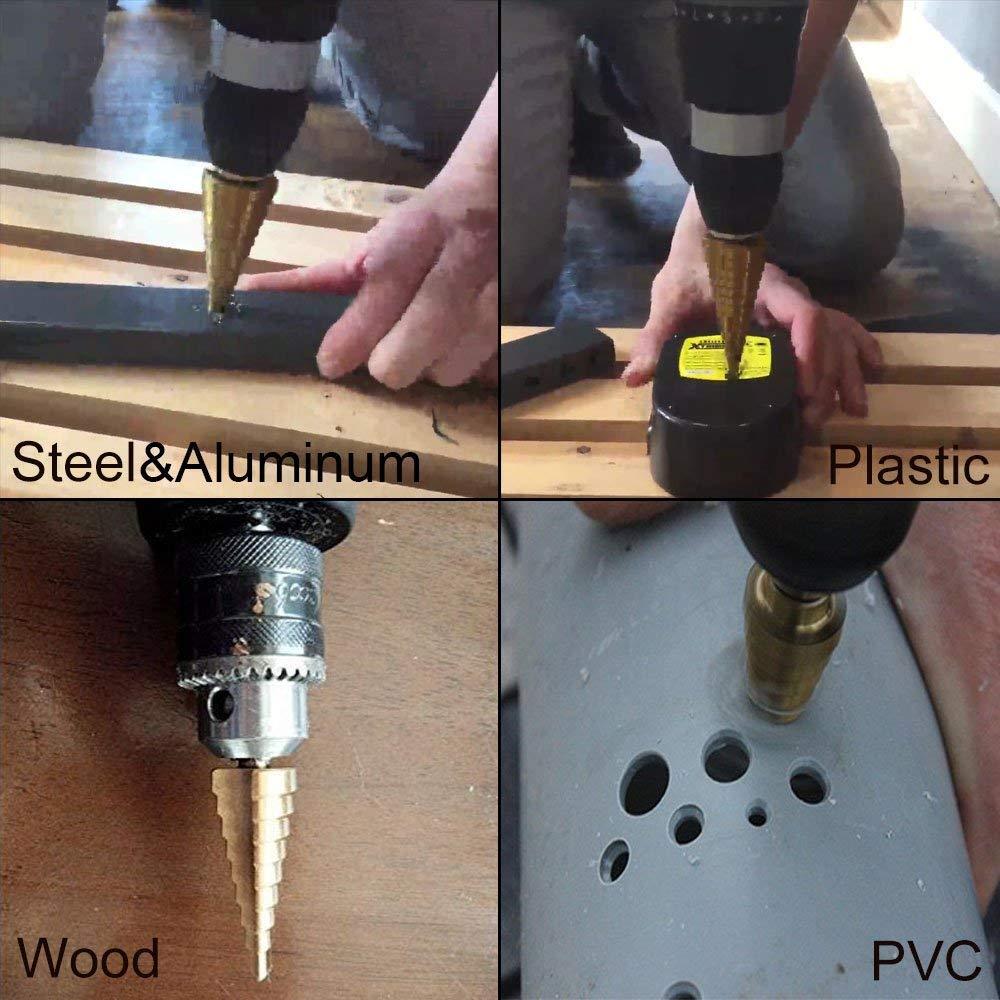 High Speed Steel 1//4 to 1-3//8 Drill Bits Set for Sheet Metal Hole Drilling Knoweasy 10 Step Sizes Titanium Step Drill Bit