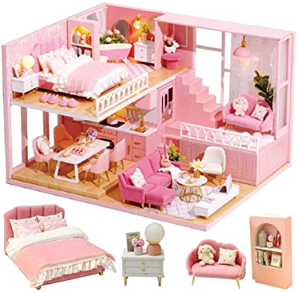 Afternoon Tea TIME DIY Dollhouse Kit Plus Dust Proof 1:24 Scale Creative Room Idea CUTEBEE Dollhouse Miniature with Furniture