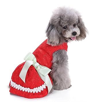 Vestido de perro Yuno Sweet Ribbon ropa de perro acogedora camisa de perro mascota princesa vestido