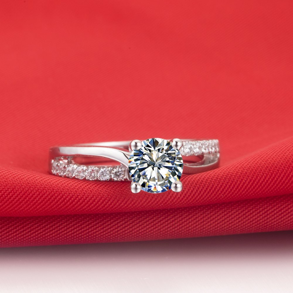Superb 1CT NSCD Simulated Diamond Ring 4 Prongs Setting Engagement Ring for Women Sterling Silver by THREE MAN (Image #5)