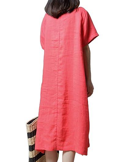 c94dd797e4 Jacansi Women Vintage Short Sleeve Patchwork Kaftan Linen Tunic Dress with Pockets  UK 8-16  Amazon.co.uk  Clothing