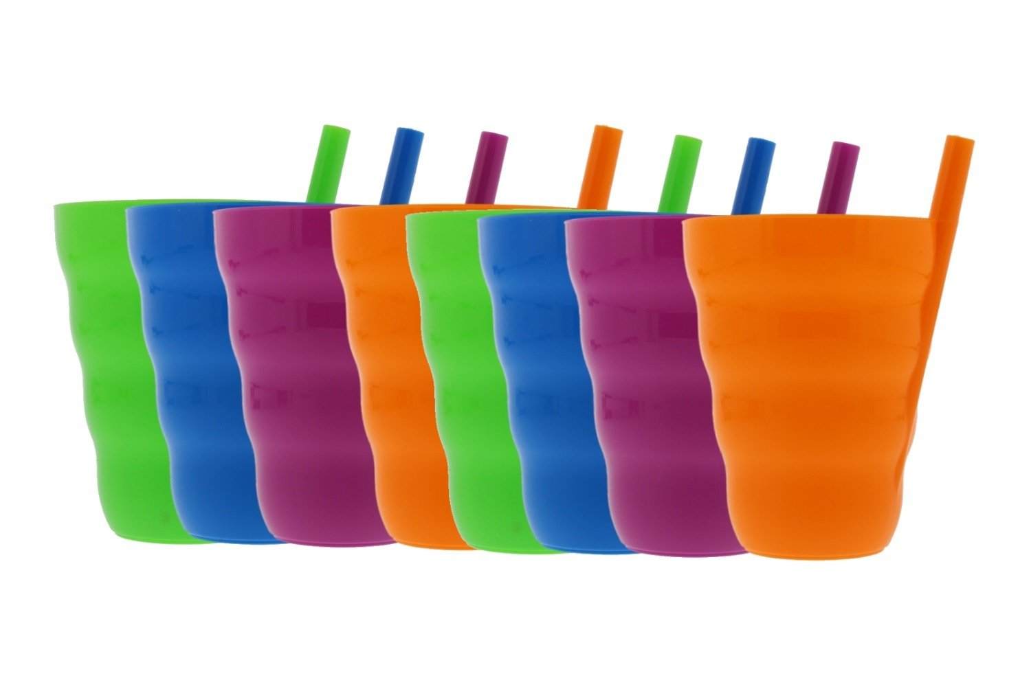 Arrow Sip-A-Cup with Built In Straw For Kids Includes Purple, Blue, Green, Orange (8 Pack)