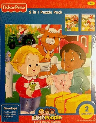 Fisher Price Little People 12 Piece Frame Tray Puzzle - Farm - 2 Pack