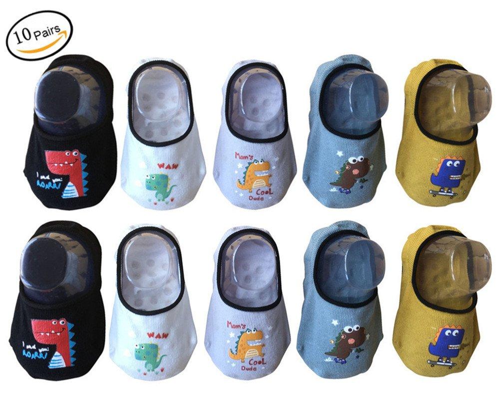 Baby Boy Non-Skid Socks Toddler Low Cut Socks Cartoon Dinosaur Design 10-Pairs (6-24M)