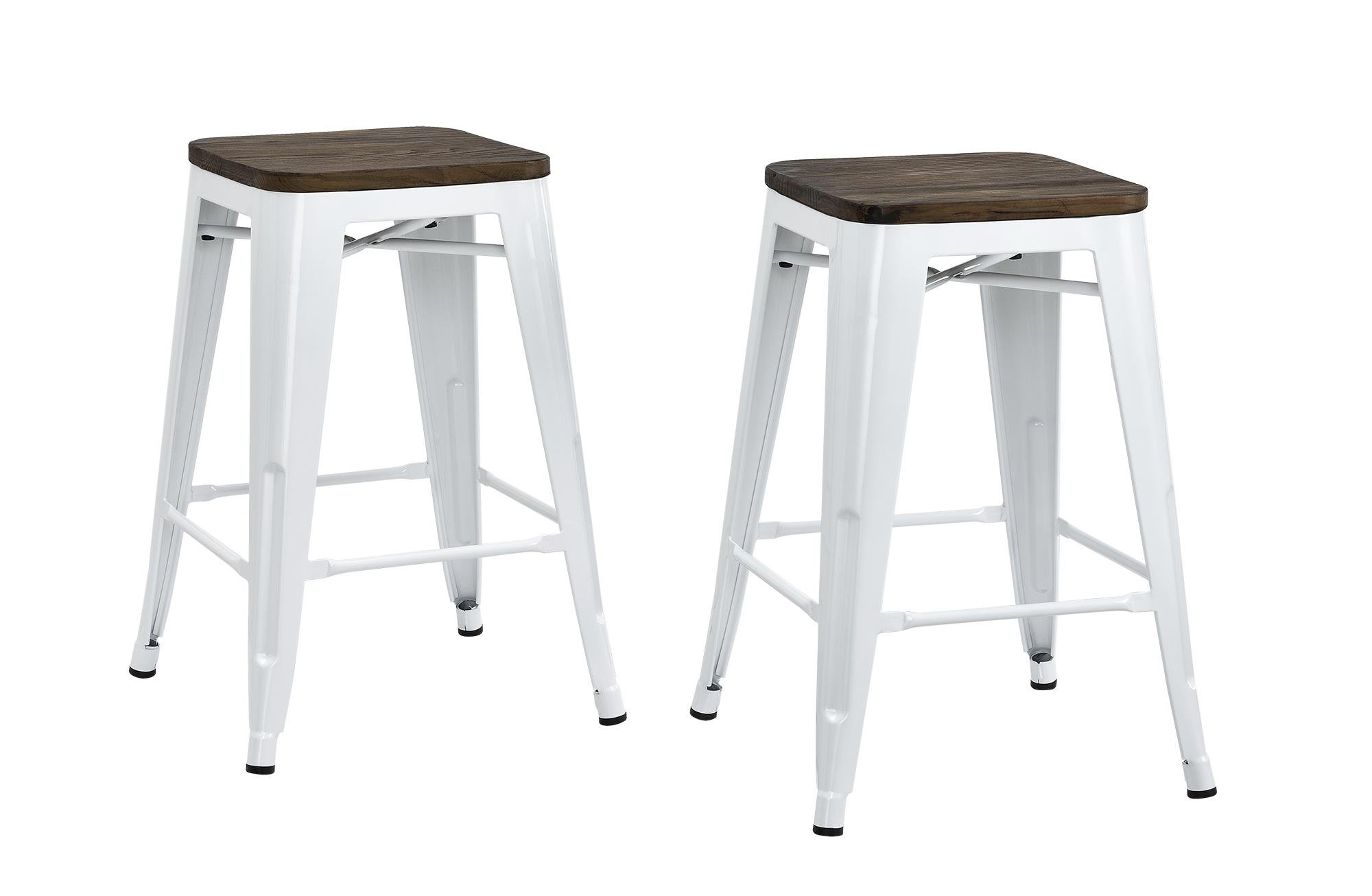 DHP Fusion Metal Backless Counter Stool with Wood Seat, Set of two, 24'', White
