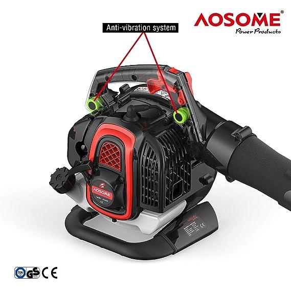 AOSOME ASBV3405 Soplador Aspirador y Triturador de Hojas Gasolina Profesional 3 en 1, con Bolsa 60L, Motor 2 Tiempos 25,4CC, Proporción de Triturar ...