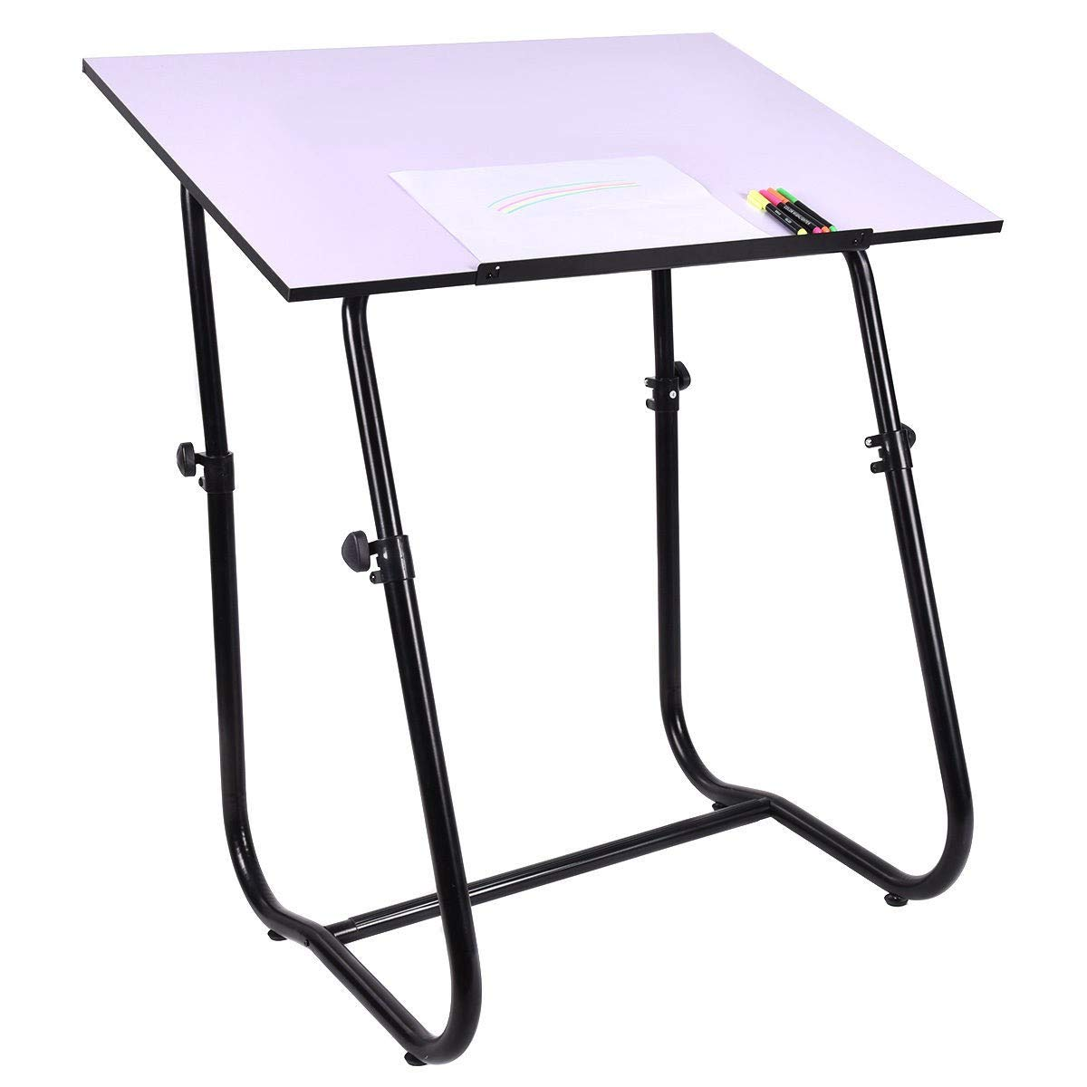Drafting Table Art Workstation White Height Adjustable Large Surface Tabletop Furniture MD Group