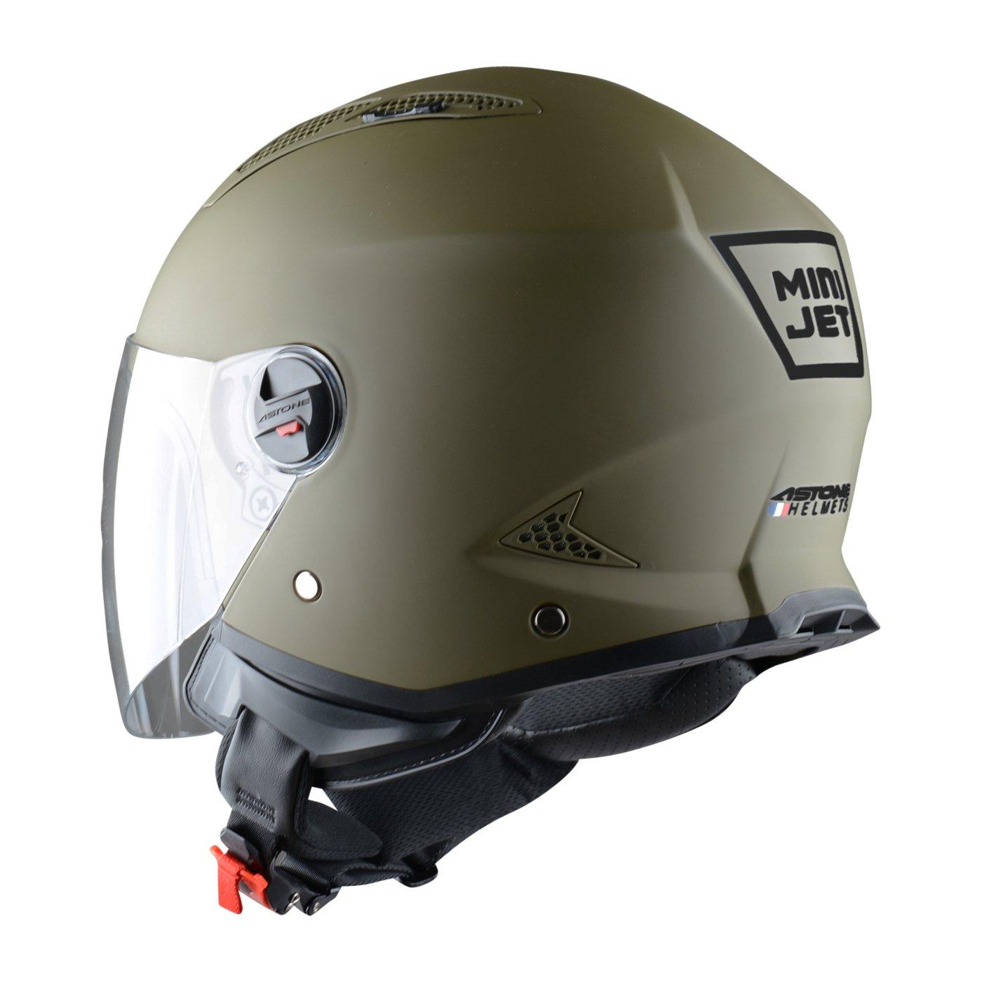 Amazon.es: Astone Helmets Mini Jet Army Casco Jet, color Verde (Matt Army), talla L