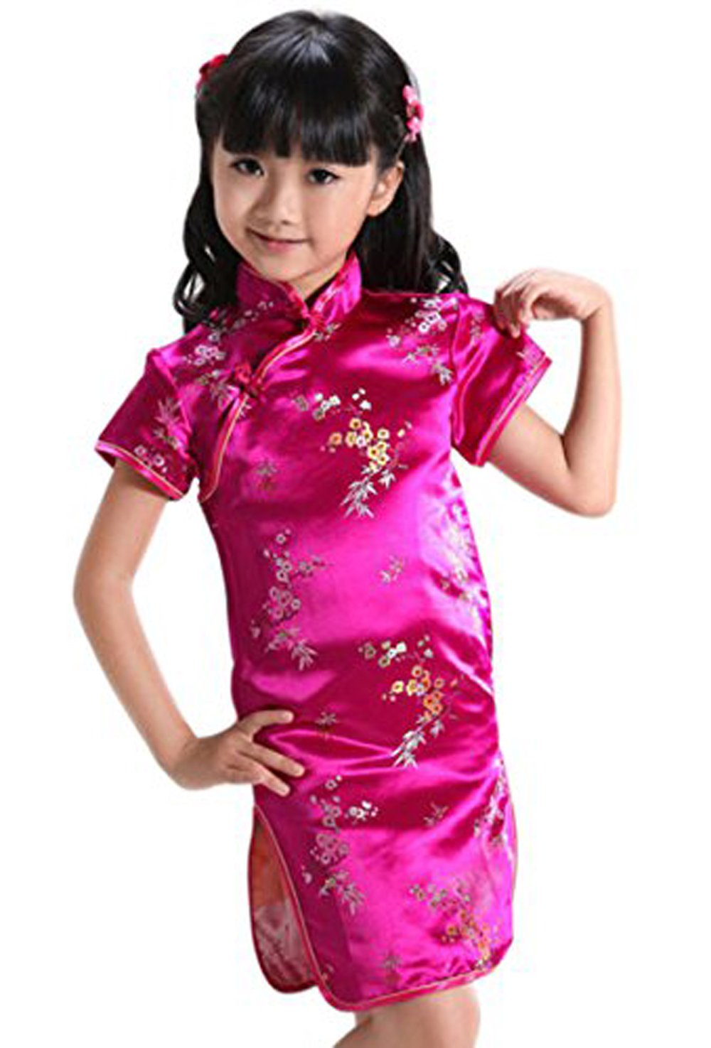 Girl Dress Red Plum Flower Chinese Traditional Cheongsam Children Qipao
