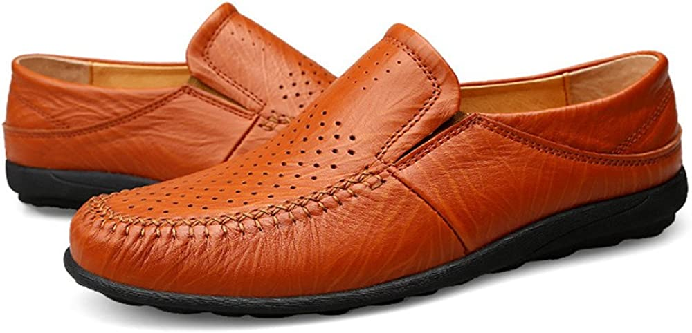 Color : Hollow Reddish Brown, Size : 10 M US Mens Driving Lok Fu Shoes Casual Refreshing High-Grade Leather Shoes Soft-Soled Shoes are Not Slippery Soft Shoes