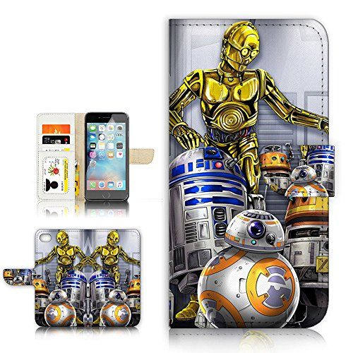 (For iPhone 8 Plus/iPhone 7 Plus) Flip Wallet Style Case Cover, Shock Protection Design with Screen Protector - B31047 Starwars R2D2 BB8 C-3PO by True Love Jewellery & Accessory