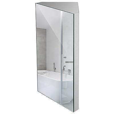 Buy 24 Inch Wall Mount Corner Medicine Cabinet With Mirror Bathroom Wall Cabinet Brushed Stainless Steel Left Open Mirror Door Three Shelves Online In Indonesia B08c7t84j8