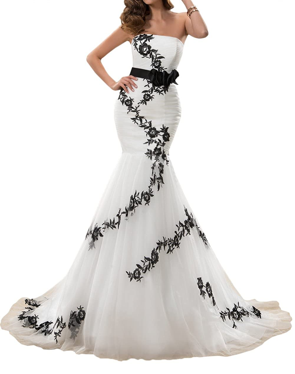 QY Bride Mermaid Wedding Dresses Long Bridal Reception Gowns Tulle
