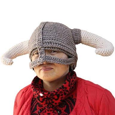 BIBITIME Knitted Big Horns Helmet Beanies Hats Handmade Men Women ... 91e46c07405