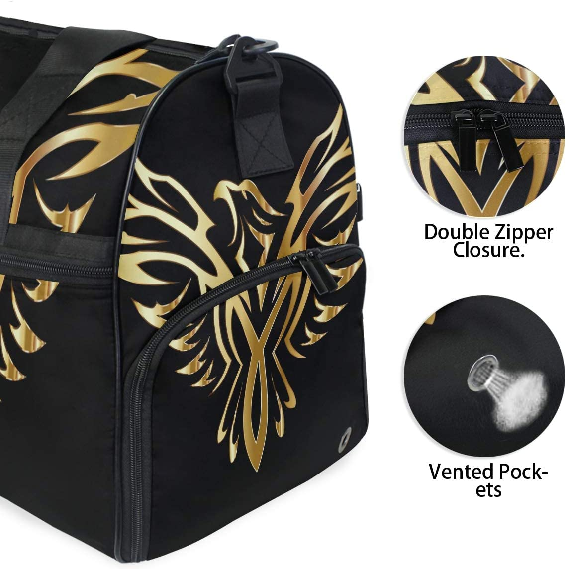 MUOOUM Awesome Gold Phoenix Bird Large Duffle Bags Sports Gym Bag with Shoes Compartment for Men and Women