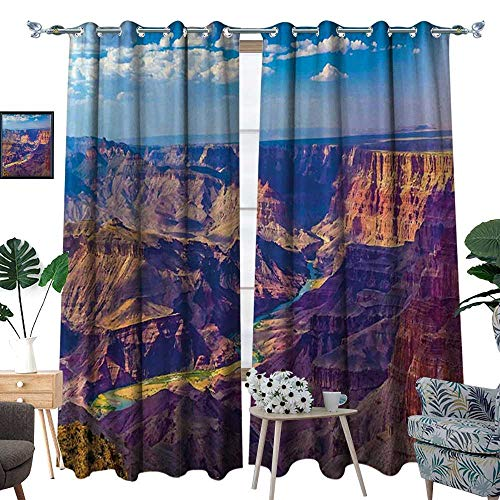 al Insulating Blackout Curtain Aerial View of Epic Grand Canyon Activity of River Stream Over Rock Plateau Print Patterned Drape for Glass Door Blue Tan ()