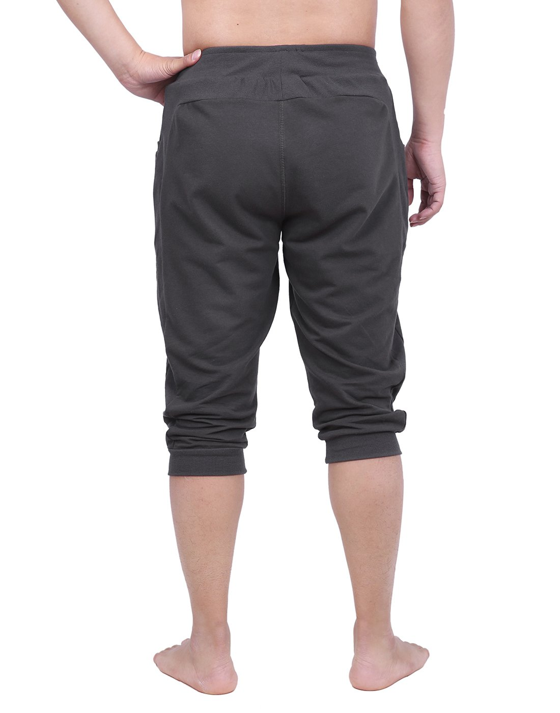 HDE Mens Workout Jogger Casual Waistband Sport Training Cuffed Yoga Capri Pant (Charcoal, Small) by HDE (Image #4)