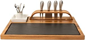 Zelancio Slate Cheese Board, 12 Piece Charcuterie Set Includes 4 Stainless Steel Cheese Knives, Bigger Acacia Serving Tray with Slate Board, and Wood Tool Holder