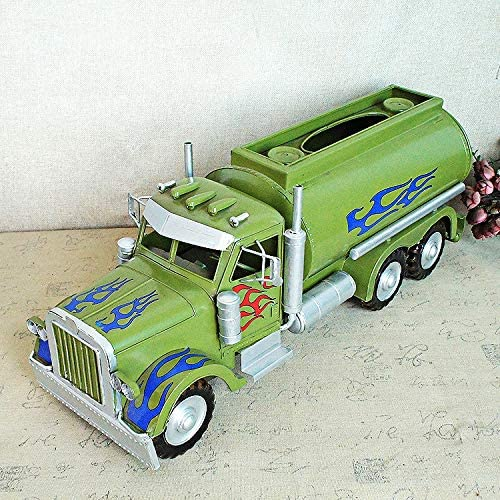 Vintage Iron Vehicle Model Tanker Green Tissue Box Retro Handicraft Collectible Iron Art Sculpture for Car Lover Home Desk Workplace Office Decoration-DX2062
