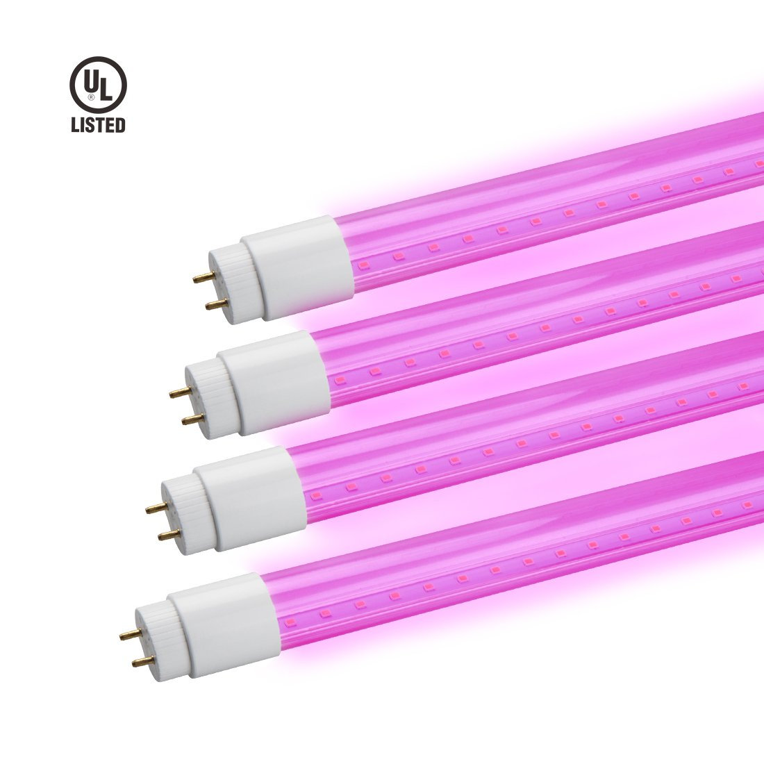 GrowLED Thinklux LED T8 - LED Grow Light Tube for Garden, Hydroponic, and Greenhouse - 18 Watts - Red/Blue Spectrum, Bypass Ballast, Direct Wire, UL Listed? Pack of 4