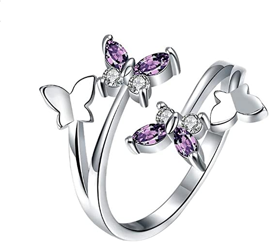 Amazon Com Wansan Open Ring Butterfly Crystal Adjustable Rings