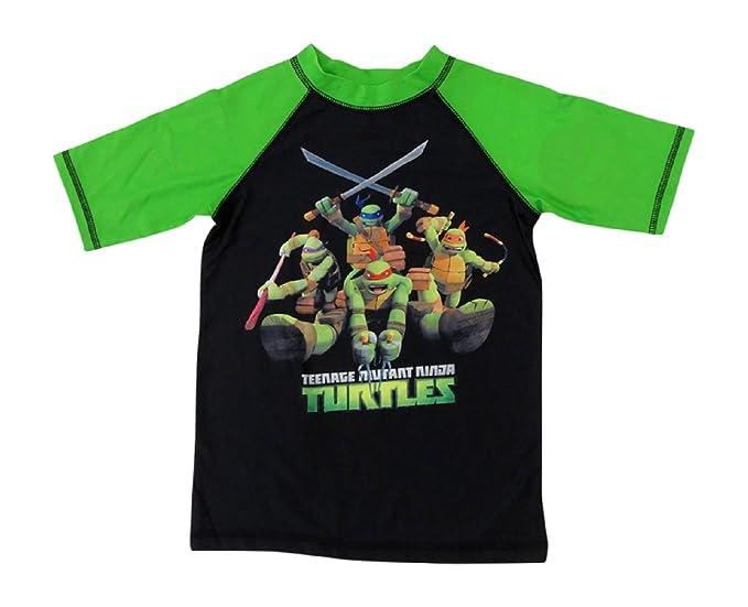 06448c968e Amazon.com: TMNT Ninja Turtles Boys Rashguard Shirt Swimwear: Clothing
