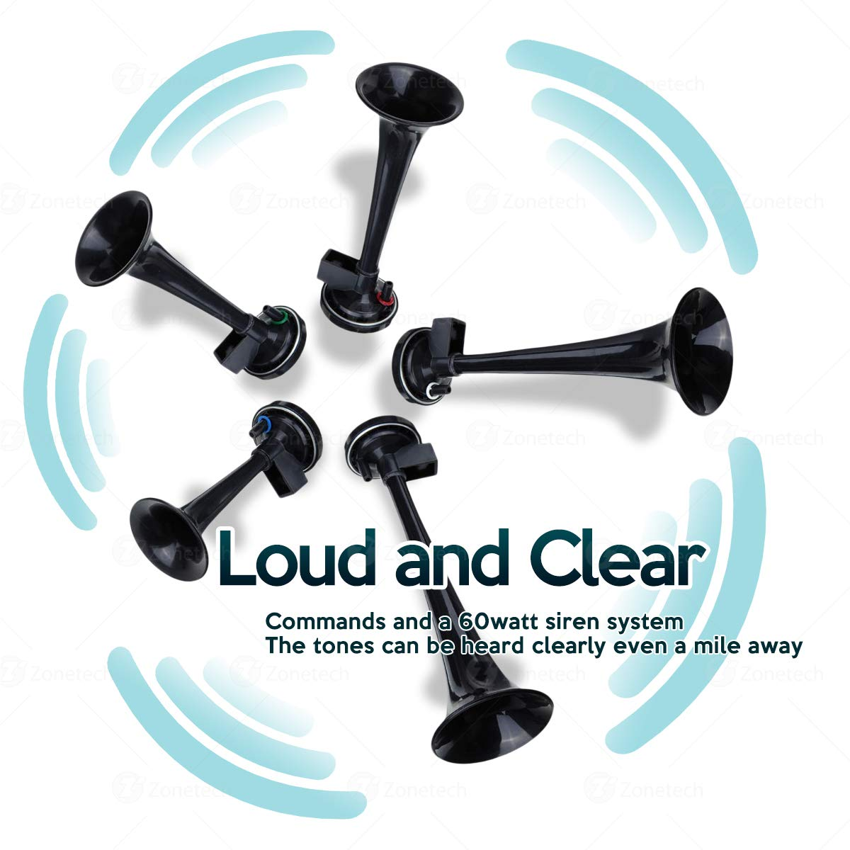 Compressor Super Loud 125db Zone Tech 12V 5 Trumpet Dixie Air Horn Premium Quality 5 Black Trumpet Air Horn