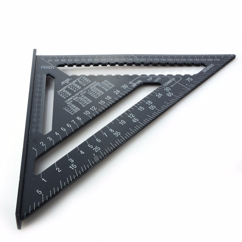 UKCOCO 12 Inch Speed Square, Aluminum Alloy Rafter Angle Square Layout Tool Triangle Angle for Carpenter