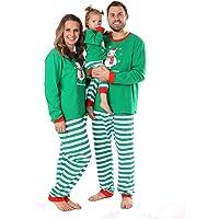 Baywell Navidad Familia Pijamas de Vacaciones a Juego Muñeco de Nieve Impreso Raya Ropa de Dormir Conjuntos de Ropa Dos…