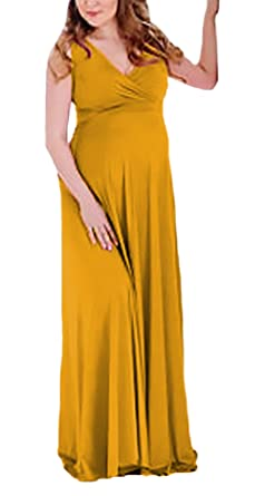 c8b5f7e2b Mujer Vestidos Premama Verano Fiesta Moda Elegantes Sin Mangas V Cuello  Talle Alto Lindo Chic Color Sólido Vestido Largo Fiesta Vestidos Coctel  Ropa ...