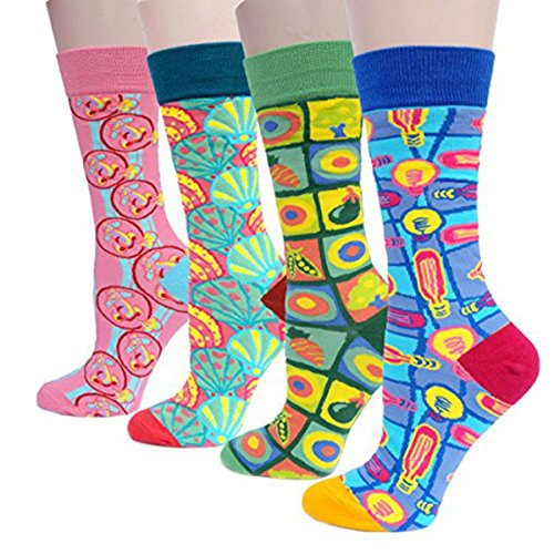 EAST-BIRD Women's colorful Socks 4 Pairs, Cotton Socks For Women, More Thicker and High Cut, Best Thermal Socks For Winter Size 6-11 from EAST-BIRD