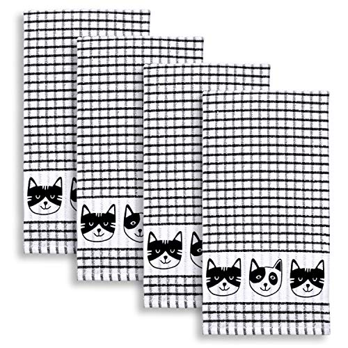 Cackleberry Home Cat Faces Windowpane Check Cotton Terrycloth Kitchen Towels, Set of 4 (Black)