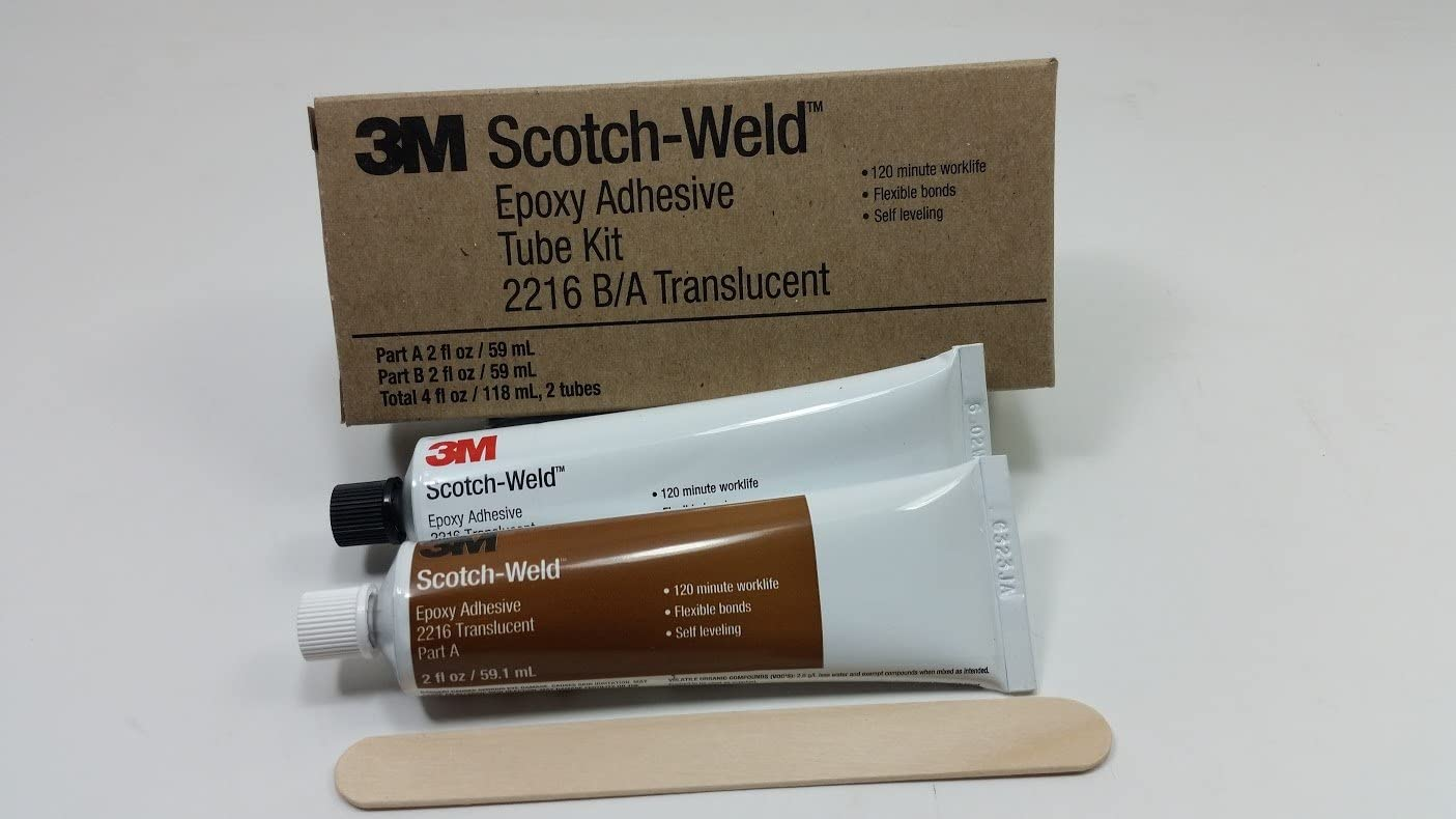 3M Scotch-Weld 2216 Clear Two-Part Epoxy Adhesive - Clear, Base & Accelerator (B/A) - 2 fl oz Kit - Shore Hardness 35 to 50 Shore D, Shear Strength 1700 psi - 20851 [Price is per KIT] 3M